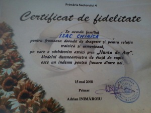 certificat 50 ani casatorie fam Isac
